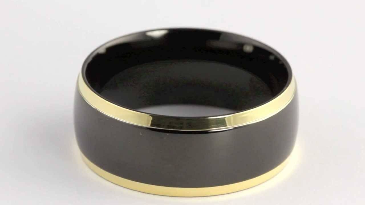 Hematite Over Stainless Steel Goldtone Accents Wedding Band 10 Mm Regarding Hematite Wedding Bands (View 3 of 15)