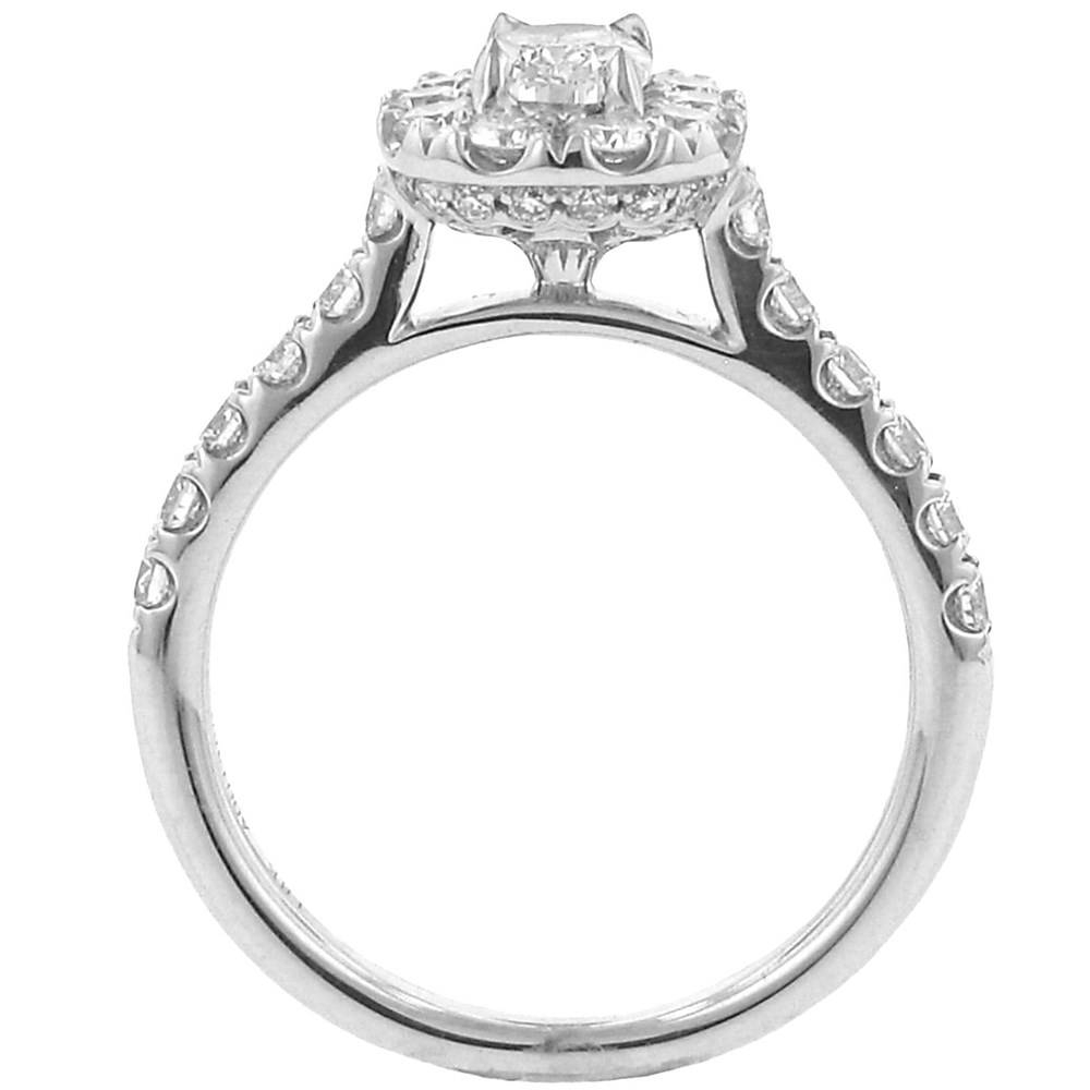 Henri Daussi – Henri Daussi Cushion Cut Halo Design Diamond In Intricate Band Engagement Rings (Gallery 12 of 15)