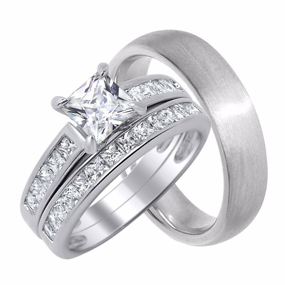 Her Wedding Rings Set Sterling Silver Wedding Bands For Him And Regarding Silver Wedding Bands For Her (View 6 of 15)