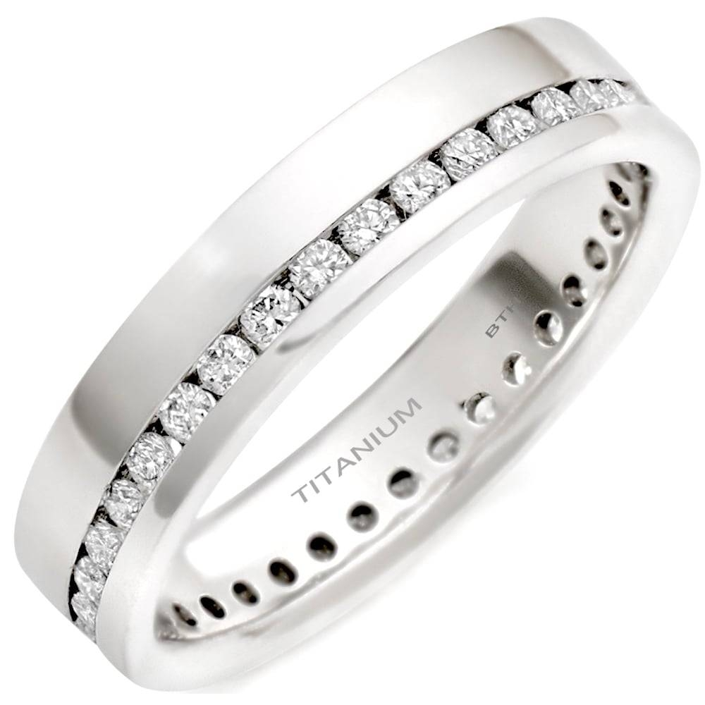 High Quality Polished Titanium Men's Engagement Band With For Unisex Engagement Rings (Gallery 10 of 15)