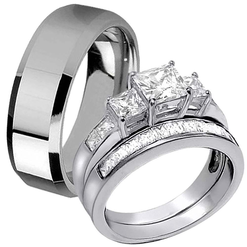 Photo Gallery of Stainless Steel Wedding Bands For Her Viewing 7 of