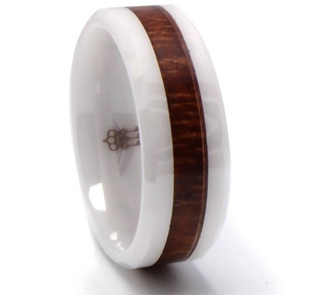His And Her Wooden Wedding Bands – 5 Stunners! Throughout Wood Inlay Men's Wedding Bands (Gallery 13 of 15)