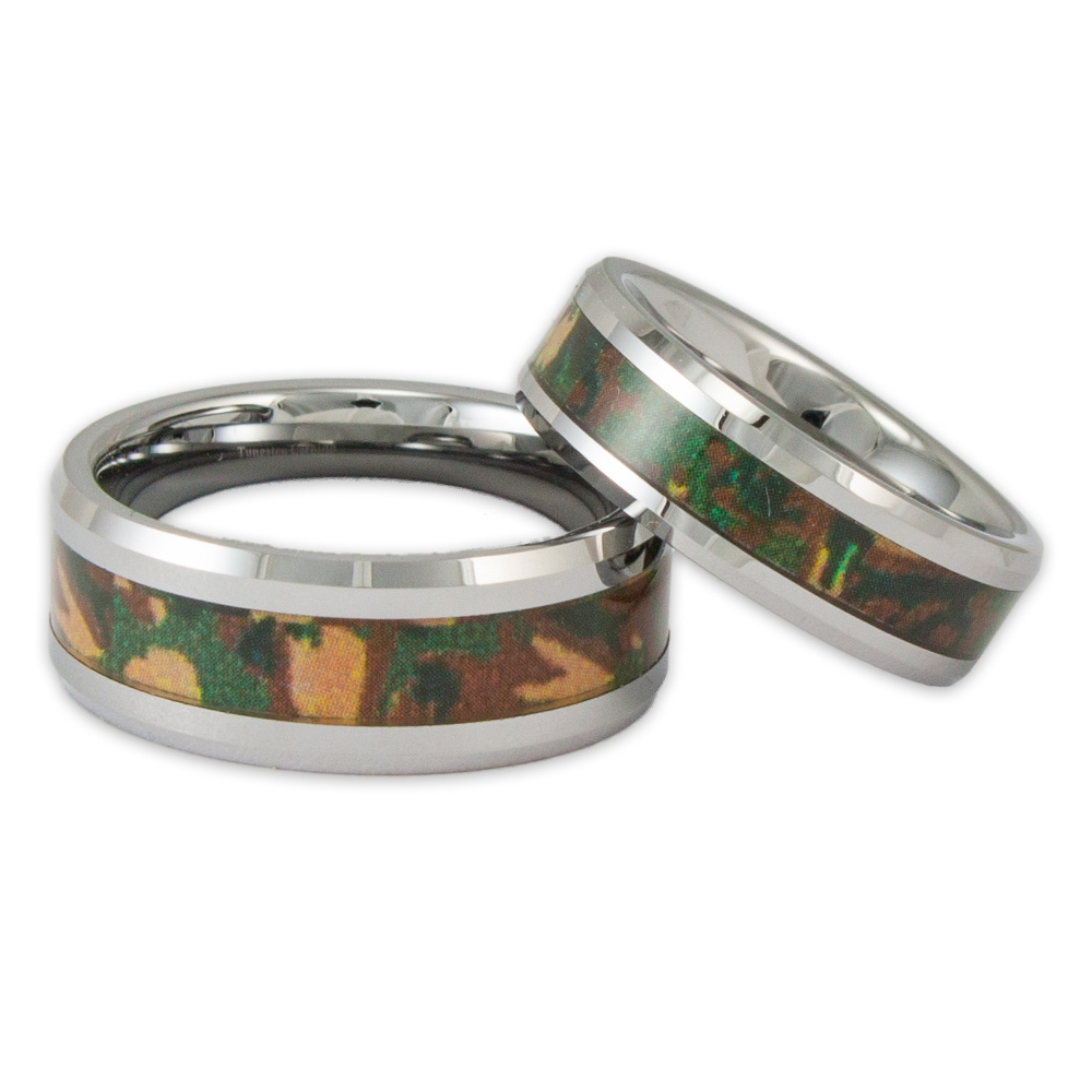 His And Her Woodland Camo Tungsten Ring Set Couples Camouflage Regarding Camo Wedding Bands For Her (View 10 of 15)
