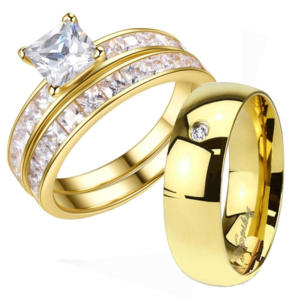 His And Hers 3 Pcs Gold Plated Men S Cz Band Women 1 25ct In Previous Photo Wedding Bands Sets