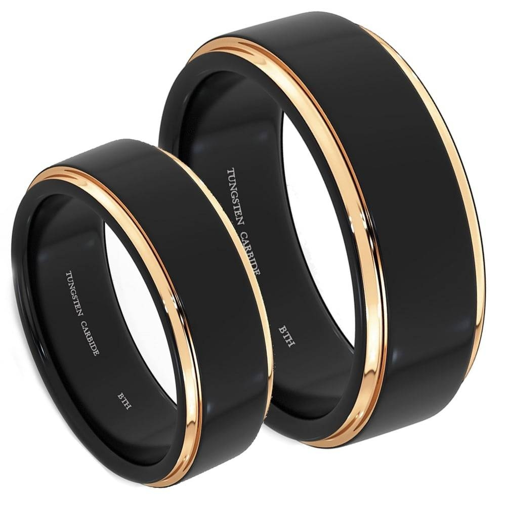 His And Hers Matching Tungsten Carbide Wedding Engagement Ring Set In Tungsten And Rose Gold Wedding Bands (View 8 of 15)