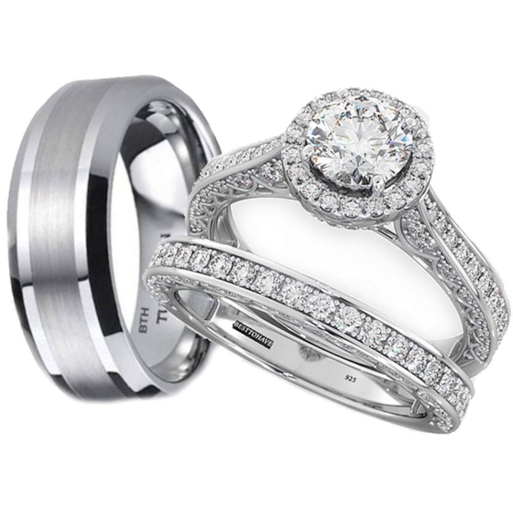 His And Hers Tungsten /925 Sterling Silver Wedding Engagement Ring Set With Couple Rings For Engagement (Gallery 1 of 15)