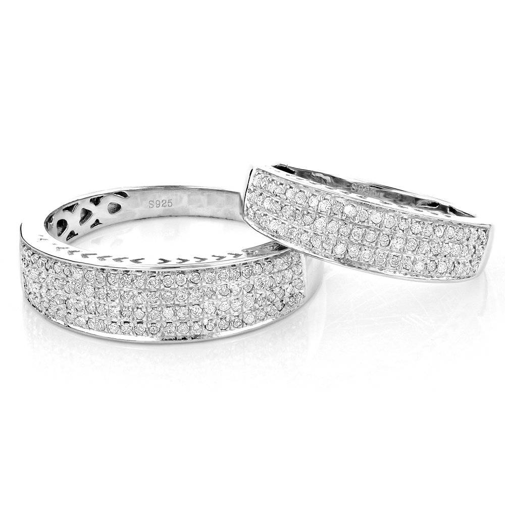 His And Hers Wedding Band Set In Sterling Silver Inside Diamond Wedding Bands Sets His And Hers (View 8 of 15)