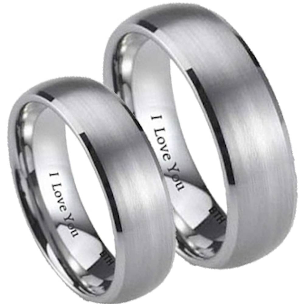 His And Hers Wedding Ring Throughout Engravable Titanium Wedding Bands (View 6 of 15)