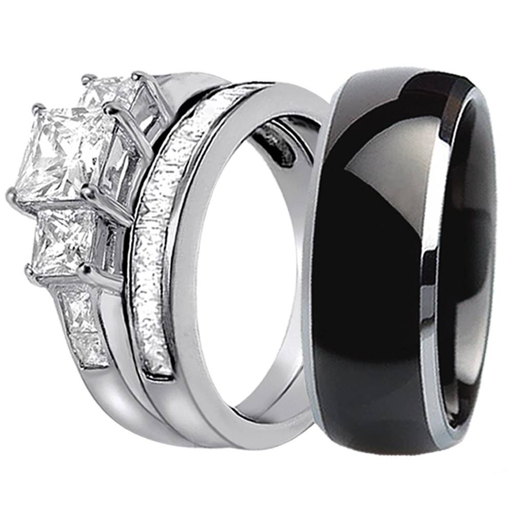 His Hers 3 Pcs Black Titanium Matching Band Three Stone Princess Intended For Black Titanium Wedding Bands Sets (View 8 of 15)