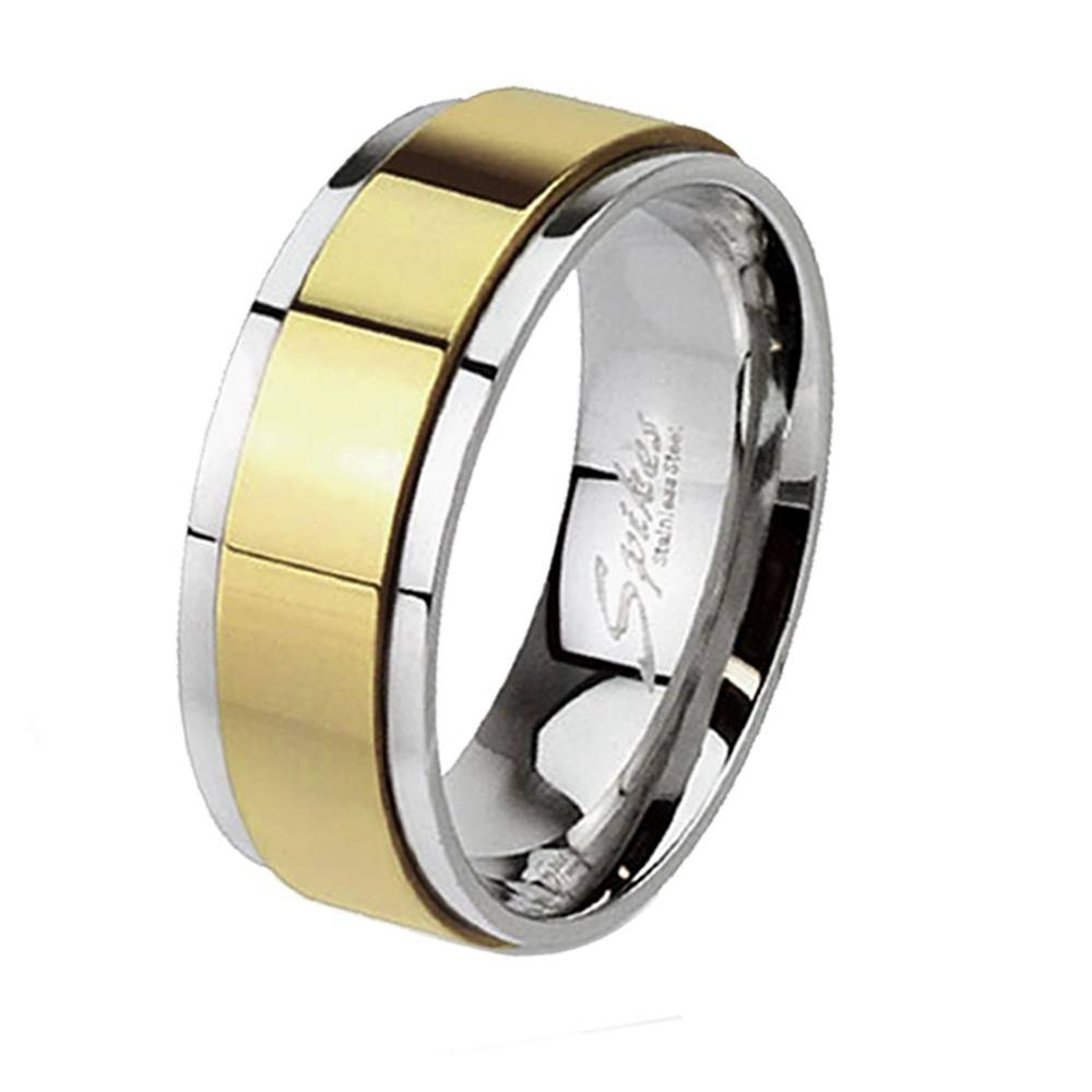 His & Hers 3 Pcs Gold Plated Men's Matching Band Women's Princess Throughout Steel Wedding Bands (View 12 of 15)