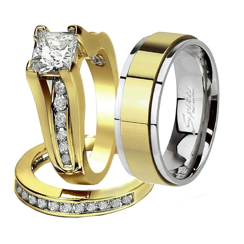 His & Hers 3 Pcs Gold Plated Men's Matching Band Women's Princess Within Stainless Steel Wedding Bands For Her (View 13 of 15)