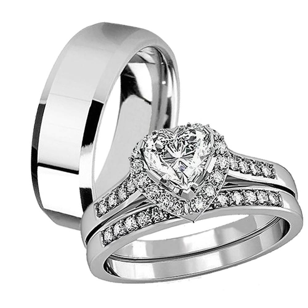 His Hers 3 Pcs Tungsten Matching Band Women Heart Cut Sterling Pertaining To Tungsten Wedding Bands Sets His And Hers (View 4 of 15)