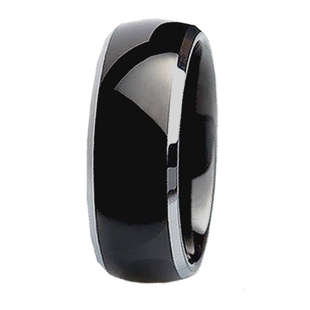 His Hers 3Pcs Black Titanium Matching Band Women Round Cut In Black And Silver Wedding Bands (Gallery 9 of 15)