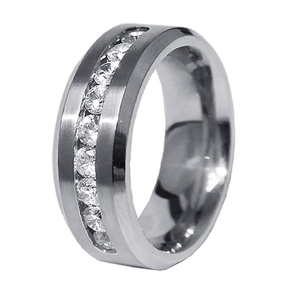 His & Hers 3Pcs Stainless Steel Men's Matching Band & Sterling Throughout Mens Engagement And Wedding Rings Sets (View 7 of 15)
