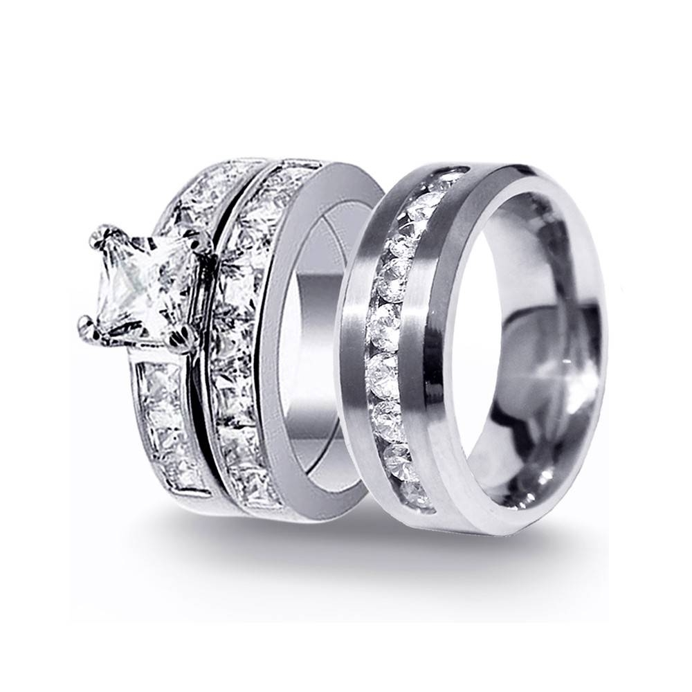 His & Hers 3Pcs Stainless Steel Men's Matching Band & Sterling With Men And Women Wedding Bands Sets (View 7 of 15)