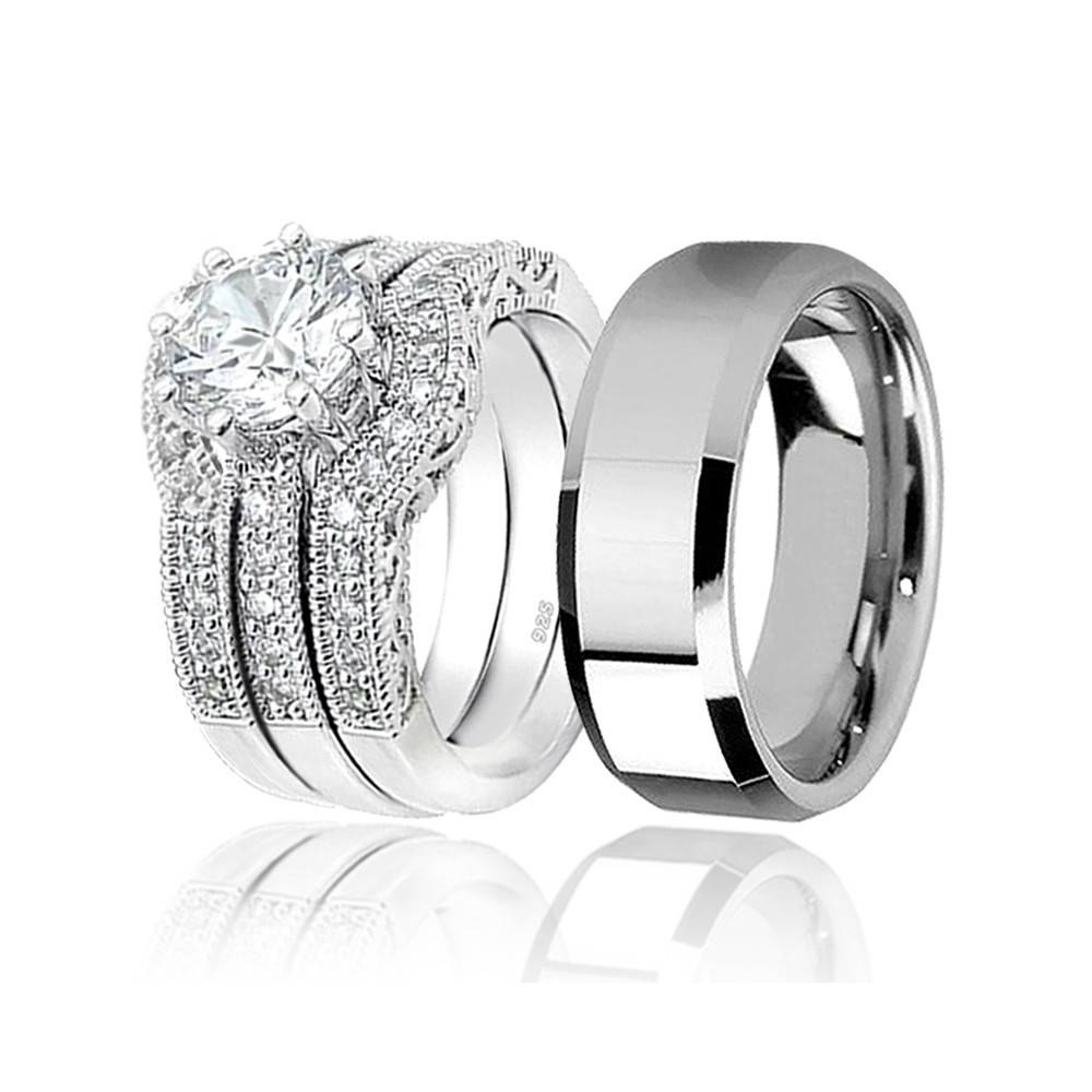 His & Hers 4Pcs Tungsten Men's Matching Band & Sterling Silver Inside Mens Engagement And Wedding Rings Sets (View 9 of 15)