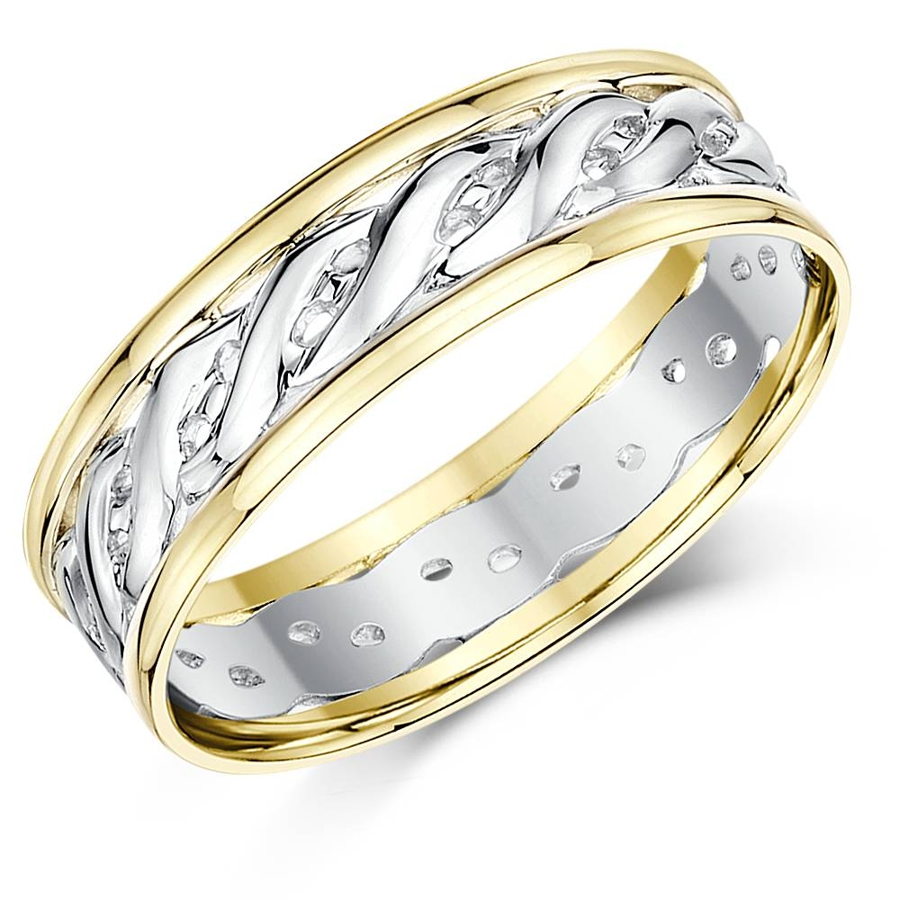 His & Hers 5&7Mm 9Ct Gold Two Colour Celtic Wedding Rings – Two Within Celtic Style Engagement Rings (View 6 of 15)