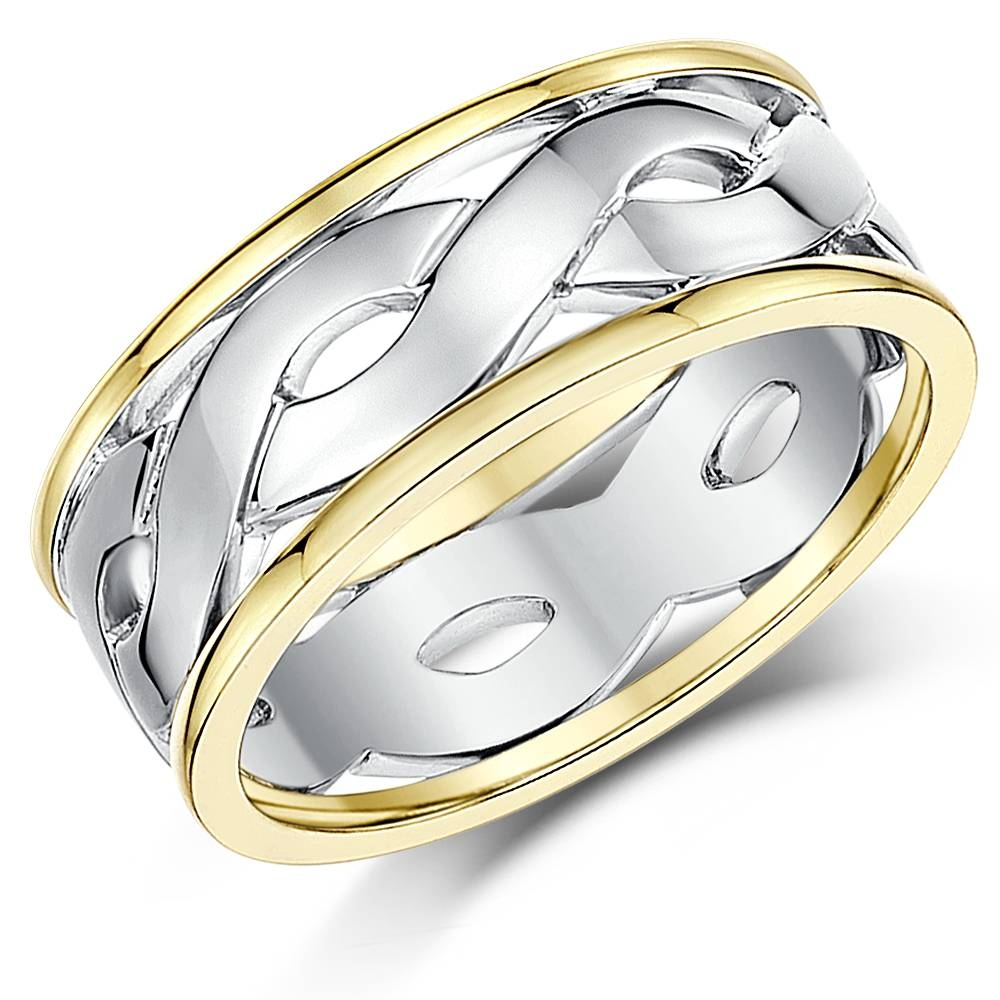 His & Hers 5&7Mm 9Ct Gold Two Colour Celtic Wedding Rings – Two Within Celtic Wedding Bands His And Hers (Gallery 10 of 15)