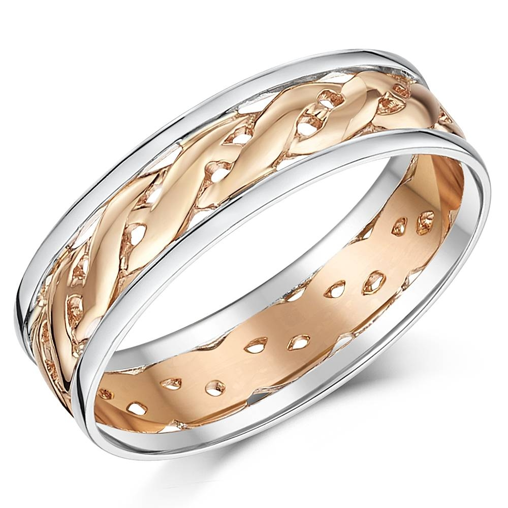 His & Hers 6&7Mm Two Colour Rose Gold Celtic Wedding Rings – 9Ct With Regard To Celtic Wedding Bands His And Hers (Gallery 5 of 15)