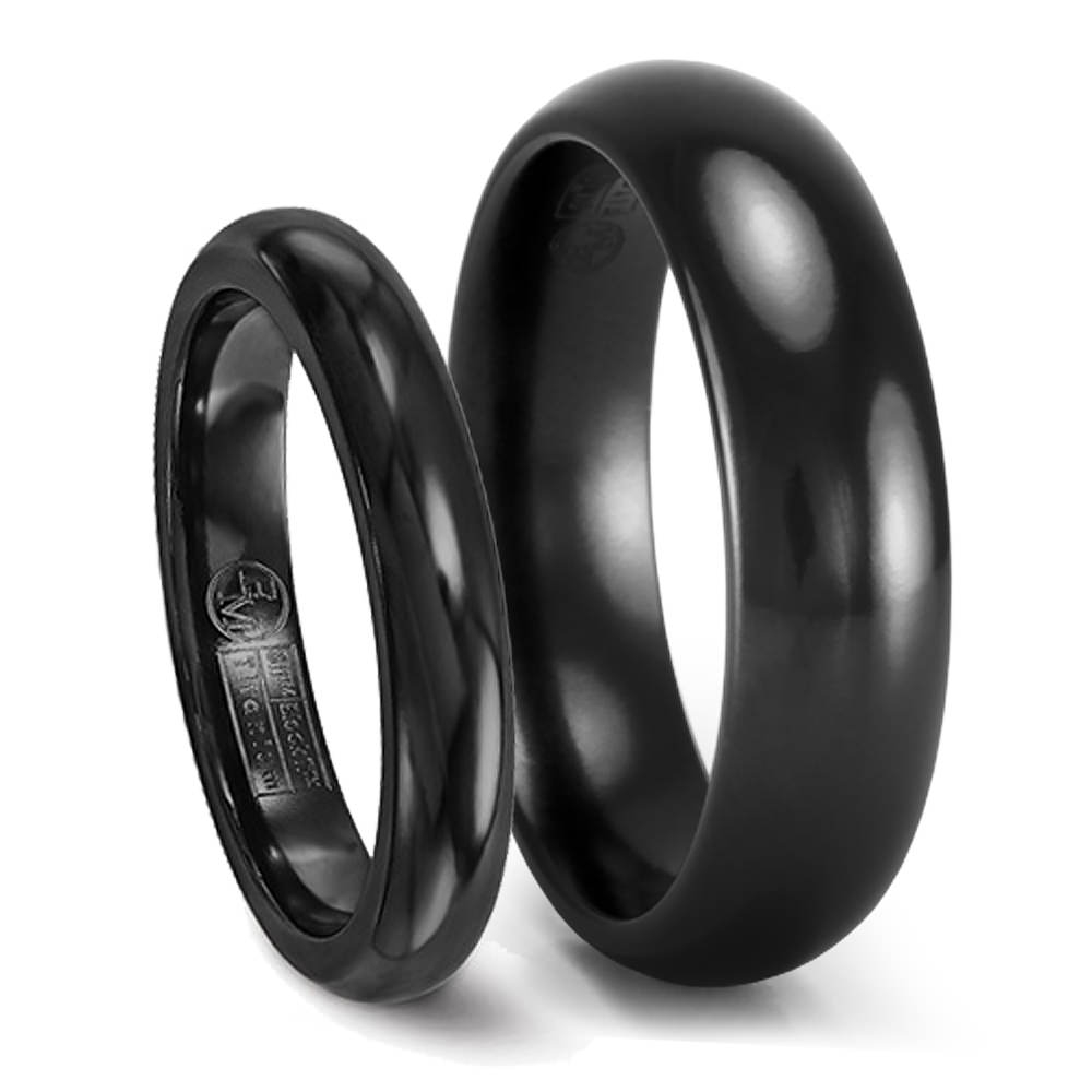 His & Hers Black Titanium Wedding Band Set – 6Mm & 4Mm Matching Rings Pertaining To Titanium Wedding Bands (Gallery 6 of 15)