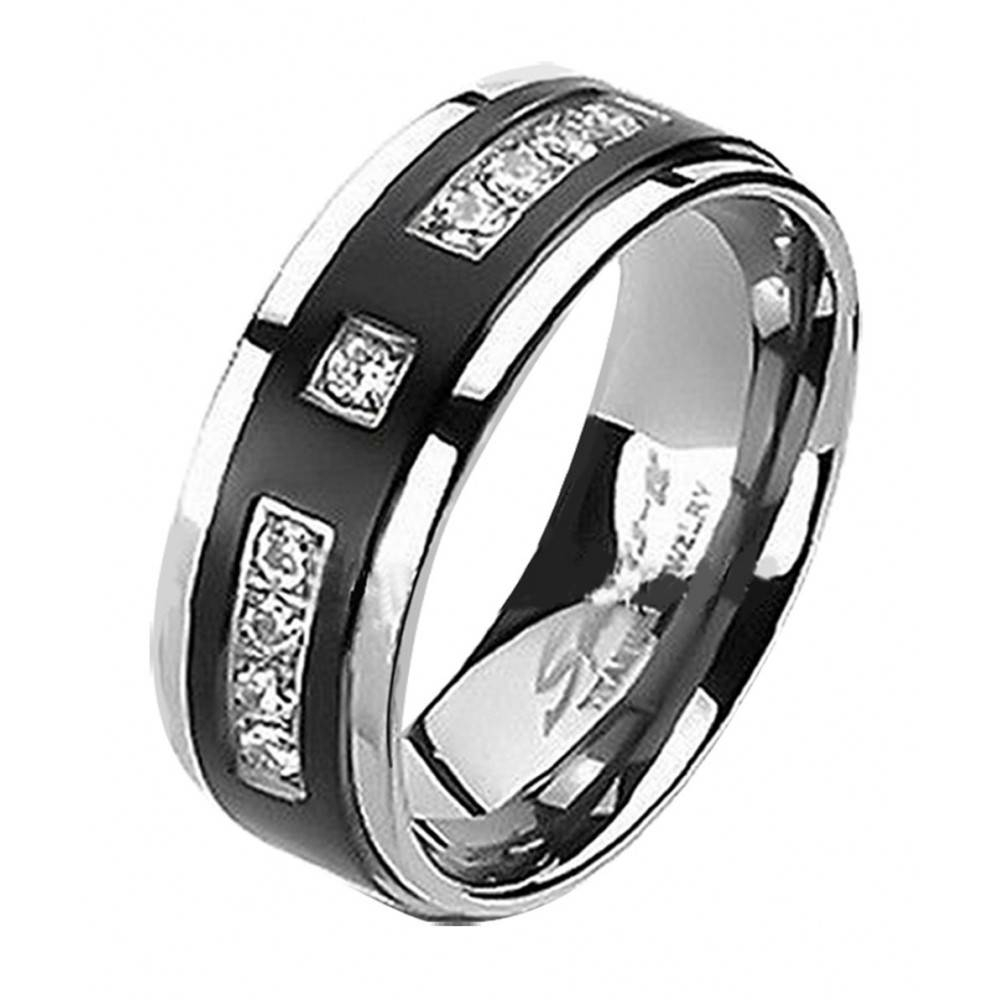 His & Hers Lovely Wedding Engagement Ring Set Black Titanium 9 Czs In Black Titanium Wedding Bands Sets (View 7 of 15)