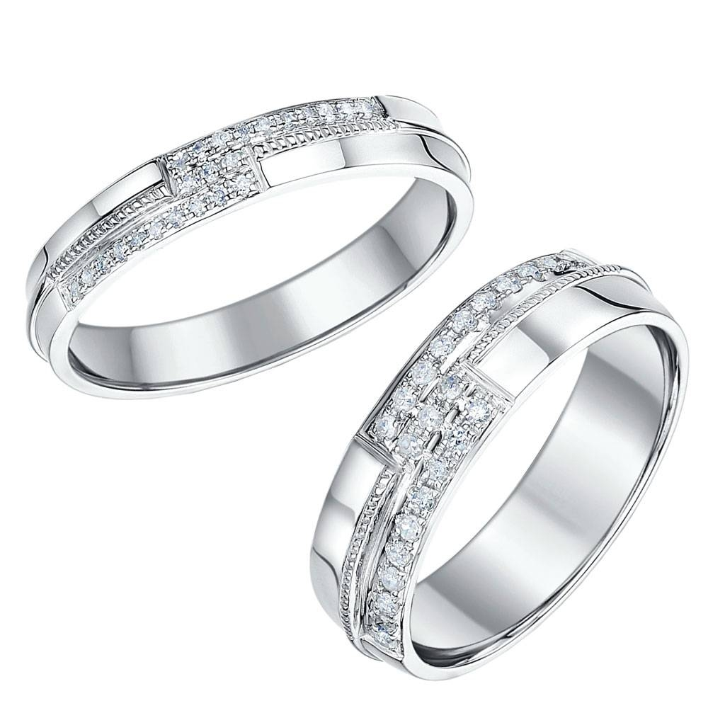 His & Hers White Gold Wedding Rings, Matching Sets For Groom And Bride For White Gold Wedding Bands His And Hers (View 10 of 15)