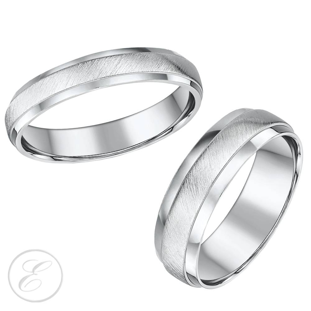 His & Hers White Gold Wedding Rings, Matching Sets For Groom And Bride Inside White Gold Wedding Bands His And Hers (View 11 of 15)