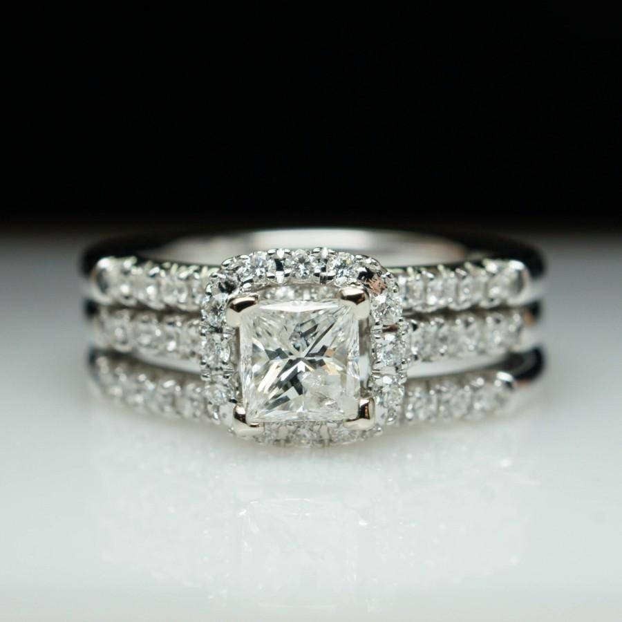Holiday Sale Princess Cut Diamond Halo Engagement Ring & Two With Engagement Rings With 2 Wedding Bands (View 4 of 15)