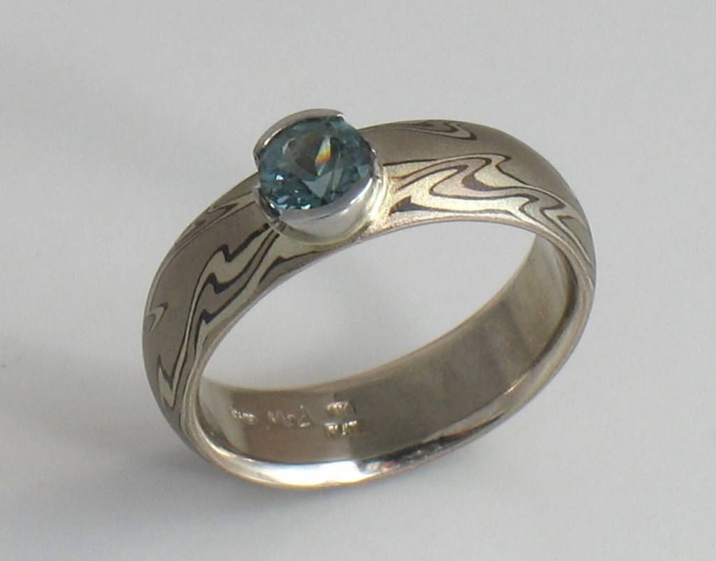 Hood River Jewelers – Sapphire And Mokume Gane Ring Intended For Mokume Engagement Rings (View 8 of 15)