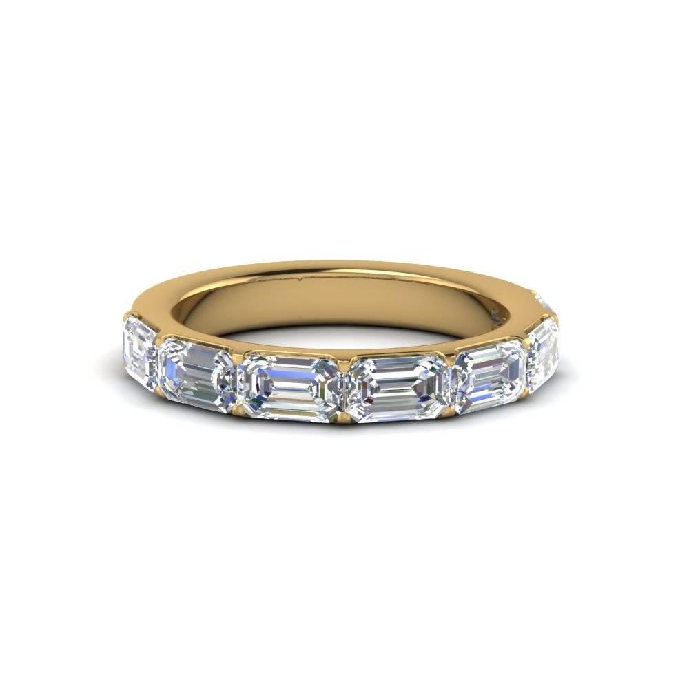 Horizontal Emerald Cut Diamond Wedding Band For Women In 14K Throughout Women's Yellow Gold Wedding Bands (View 8 of 15)
