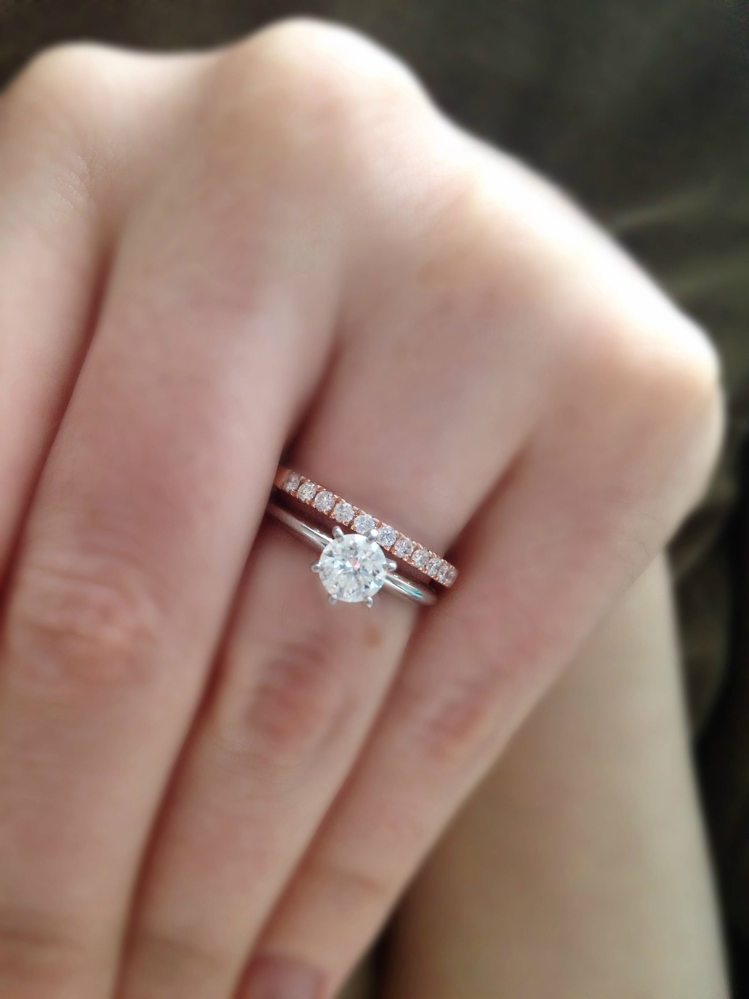 How Thin/thick Is Your Engagement Ring Band? – Weddingbee For  (View 10 of 15)