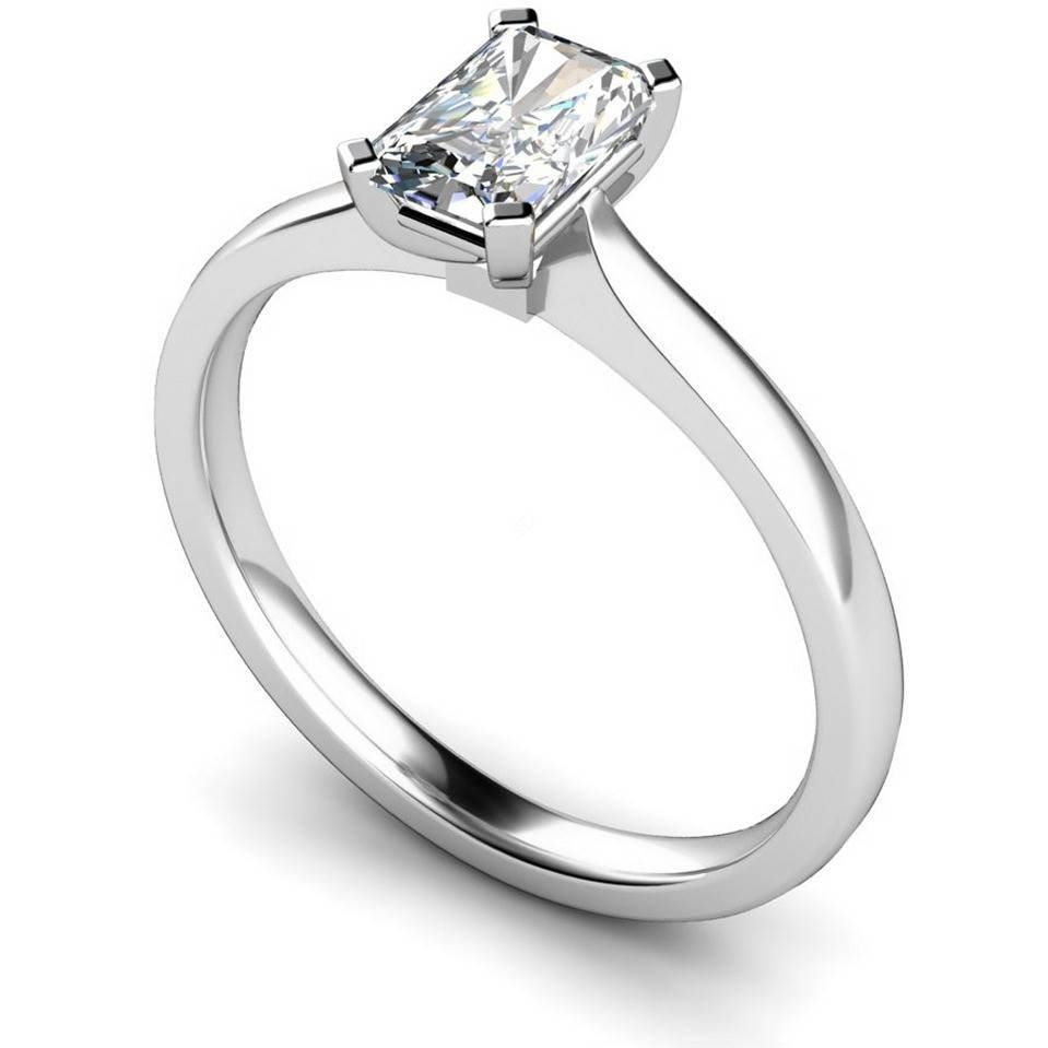Hre484 Four Flat Claw Emerald Cut Solitaire Diamond Ring | Shining Pertaining To Flat Engagement Ring Settings (View 13 of 15)