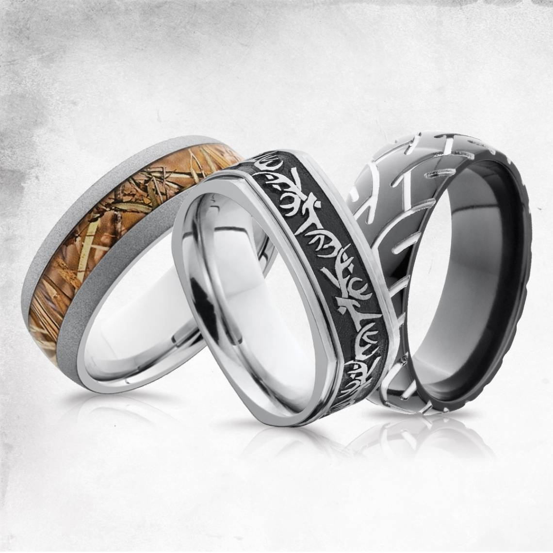 Hunting, Camo, And Tire Tracks Men's Wedding Bands – Men's Wedding With Regard To Outdoorsman Wedding Bands (View 11 of 15)