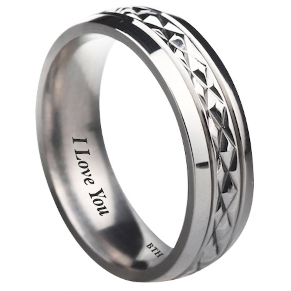 I Love You Unisex Titanium Wedding Engagement Comfort Band Ring In Engravable Titanium Wedding Bands (View 7 of 15)
