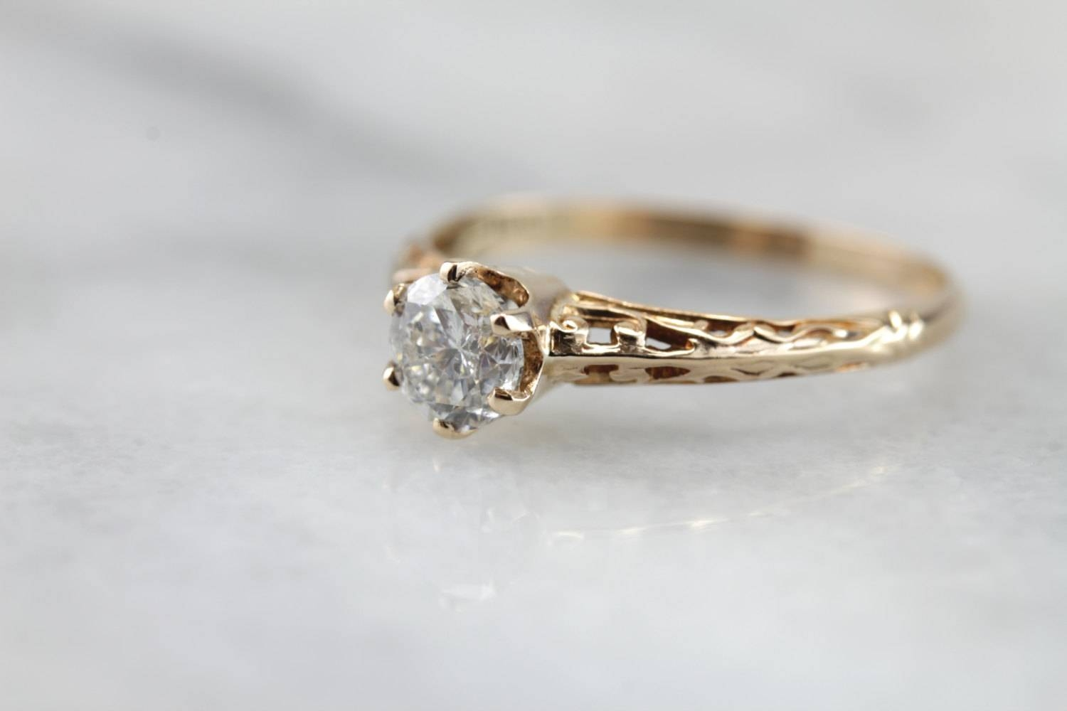 If You Love Brie Larson's Engagement Ring, Here Are 10 More You With Etsy Vintage Wedding Bands (View 6 of 15)