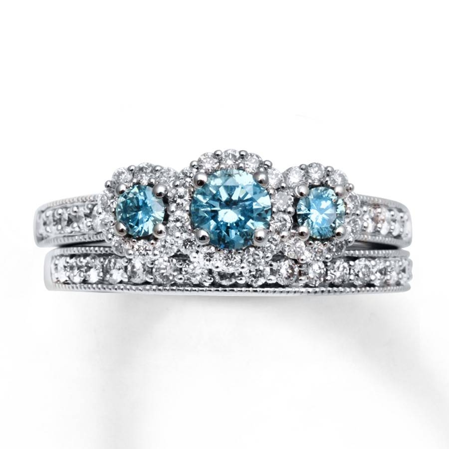 Featured Photo of Blue Diamond Wedding Rings Sets