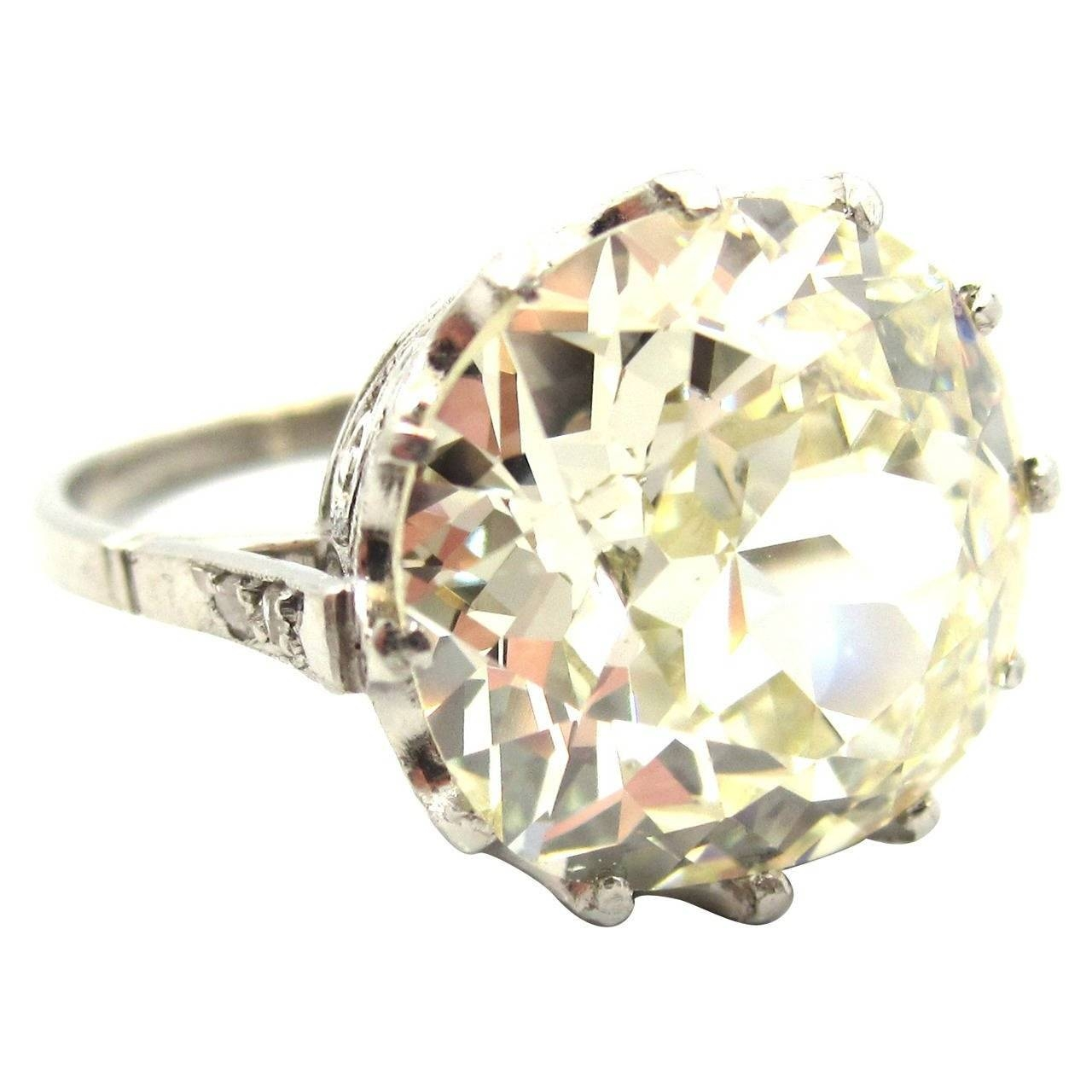 Incredible Edwardian 7.66 Carat Cushion Cut Diamond Crown Style Regarding Crown Style Engagement Rings (Gallery 1 of 15)