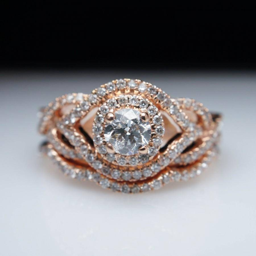 Infiniti .83Ctw Diamond Rose Gold Engagement Ring & Wedding Band Within Interlocking Engagement Rings And Wedding Band (Gallery 5 of 15)