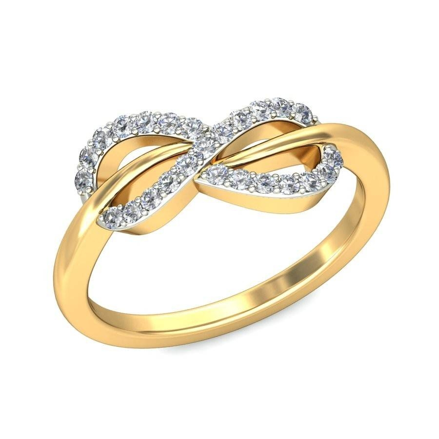 Infinity Design Round Diamond Engagement Ring In Yellow Gold Within Designing An Engagement Rings (View 11 of 15)