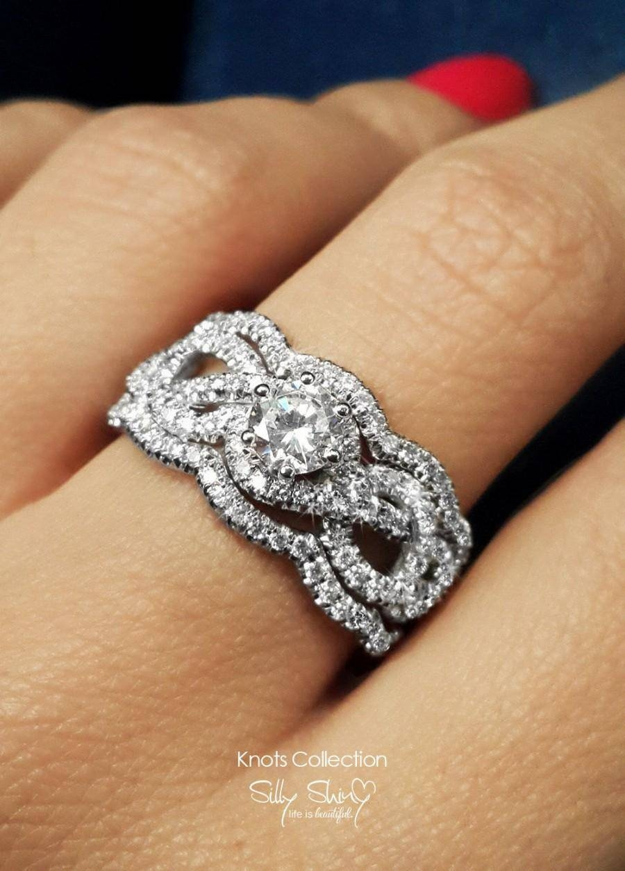 Infinity Engagement Ring With 2 Wedding Bands, Semi Mount Ring Regarding Engagement Rings With 2 Wedding Bands (View 5 of 15)