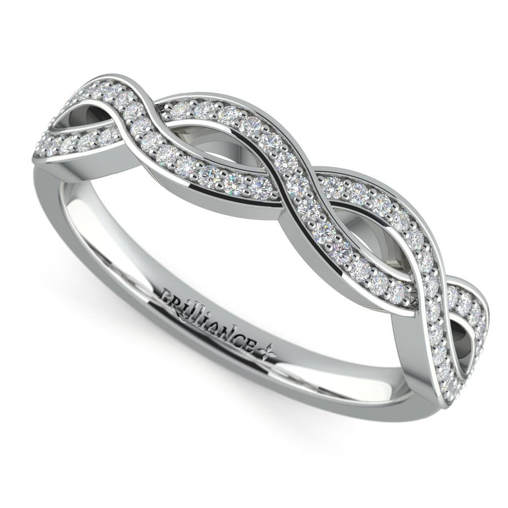 Infinity Twist Diamond Wedding Ring In White Gold With Regard To Infinity Twist Wedding Bands (View 7 of 15)