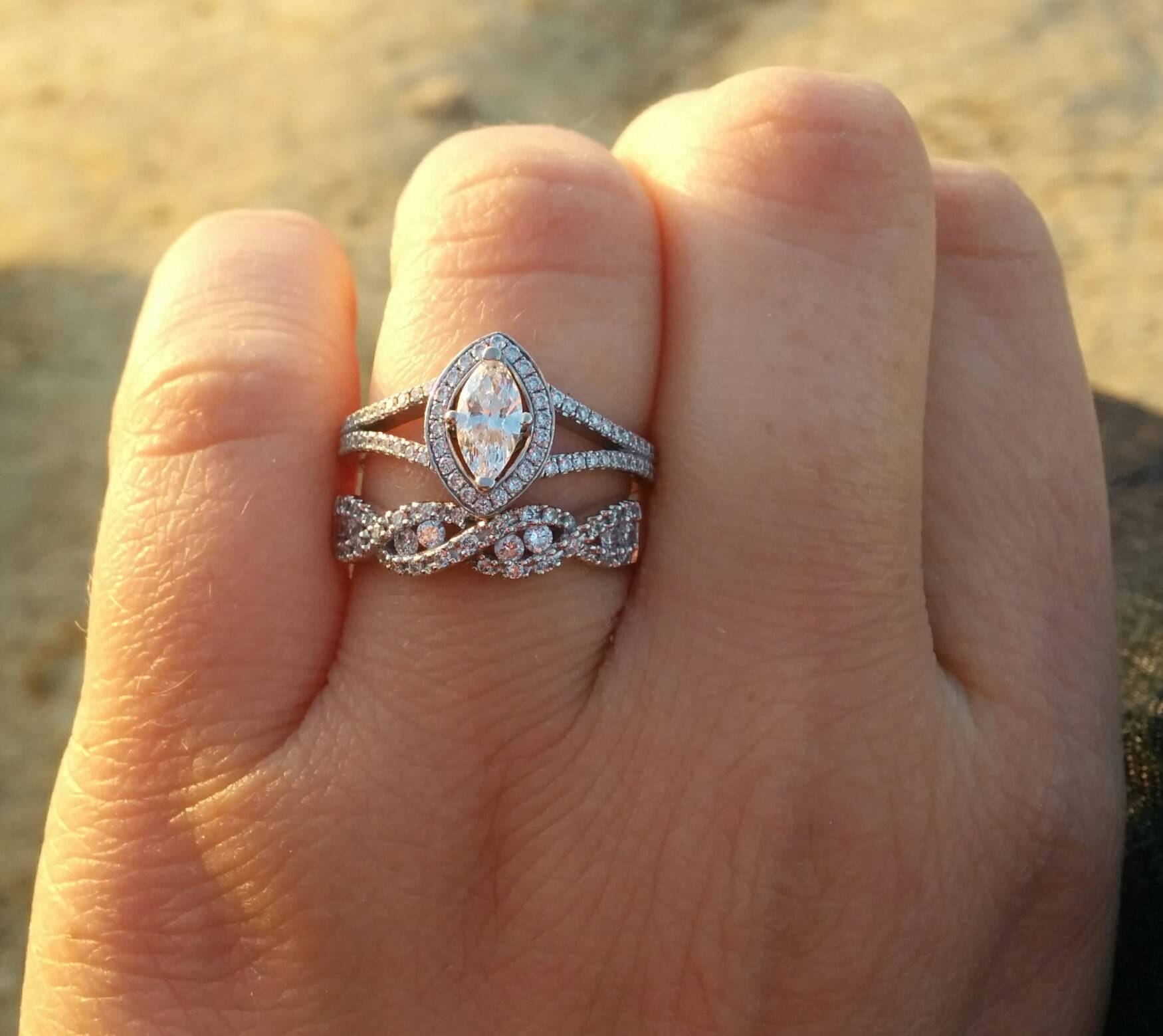 Infinity Wedding Band With Engagement Ring – Weddingbee Intended For Wedding Band For Infinity Engagement Rings (Gallery 2 of 15)