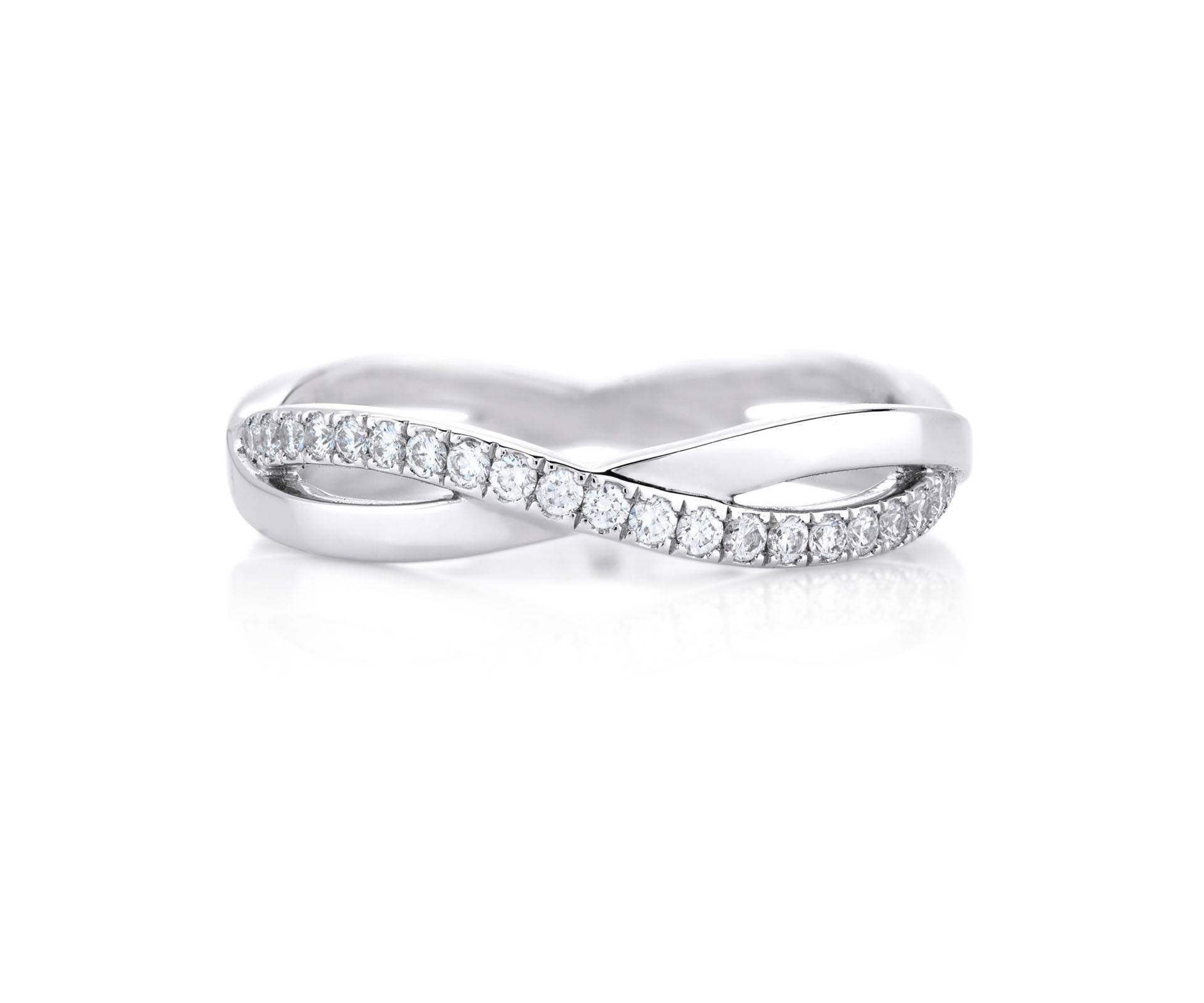 Infinity White Gold Band J1Fu07Z00W | De Beers Inside Infinity Wedding Band And Engagement Rings (Gallery 14 of 15)