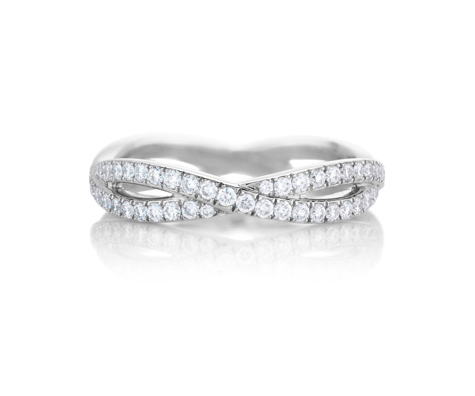 Infinity White Gold Full Pavé Band J1Fu08Z00W | De Beers Intended For Wedding Band For Infinity Engagement Rings (Gallery 15 of 15)