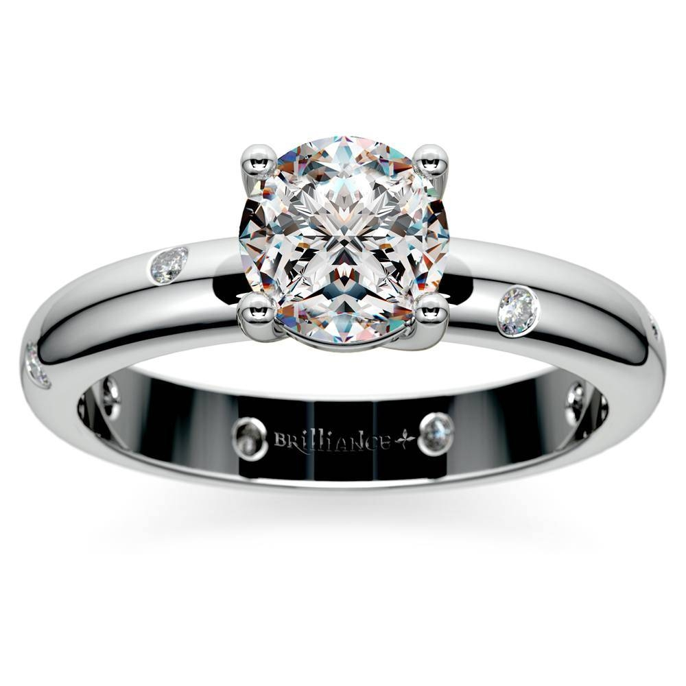 Inset Diamond Engagement Ring In White Gold Within Inset Engagement Rings (View 8 of 15)