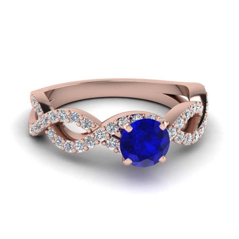 Intertwined Sapphire And Diamond Ring In 14K Rose Gold Intended For Saffire Engagement Rings (Gallery 2 of 15)
