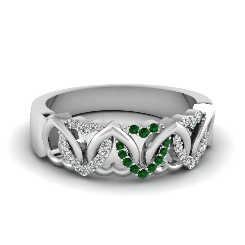 Interweaved Heart Wedding Band White Diamond With Green Emerald In With Regard To Women's Wedding Bands (Gallery 50 of 339)