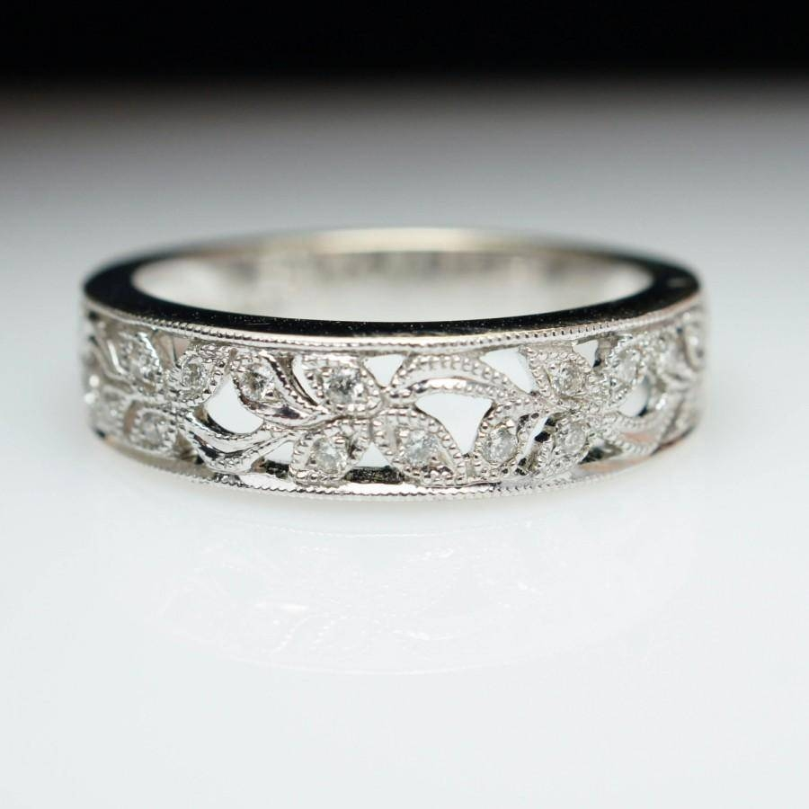 Intricate Diamond Flower Inlay White Gold Anniversary Band Diamond With Intricate Band Engagement Rings (View 10 of 15)