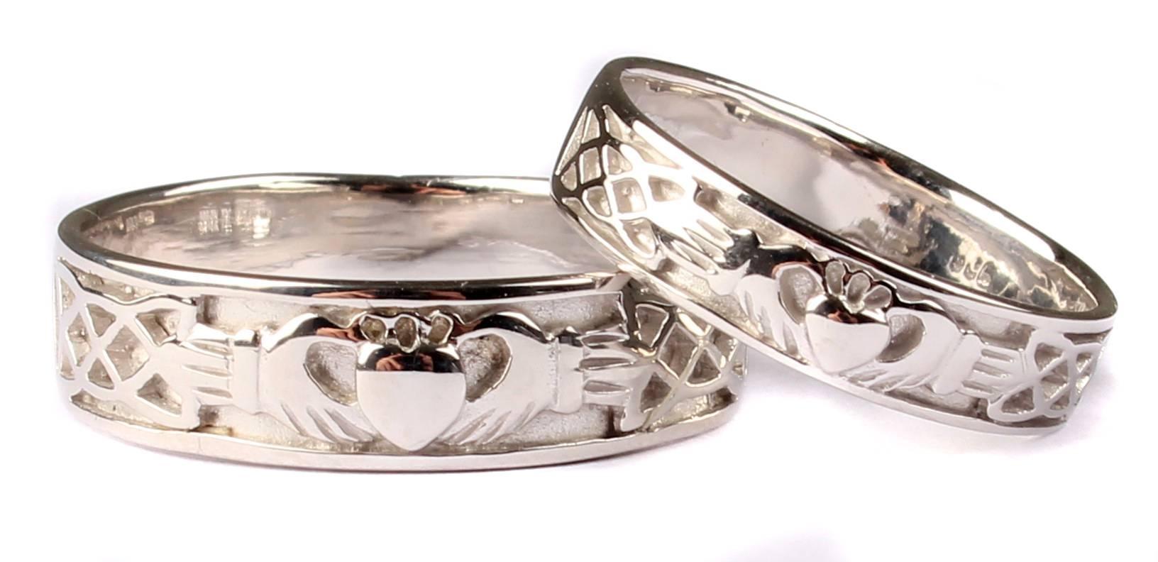 Irish 9 Ct White Gold Claddagh Wedding Ring Set. | Celtic Desire Pertaining To Irish Engagement Ring Sets (Gallery 7 of 15)