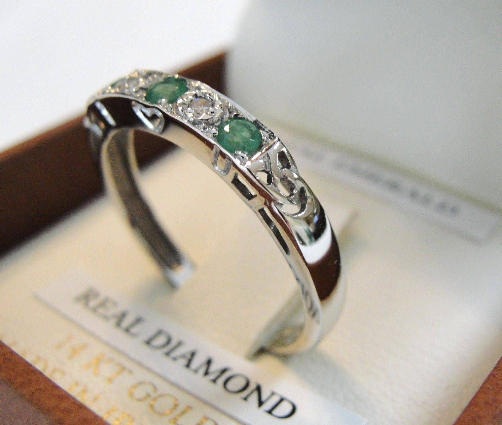 Irish Emerald Diamond Five Stone Set Ladies 14Kt White Gold Band For Irish Emerald Engagement Rings (Gallery 15 of 15)